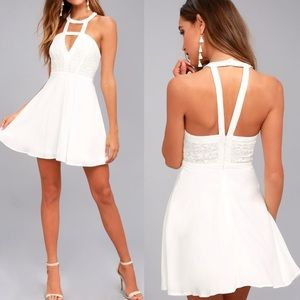 Lulu's ALL MY DAYDREAMS WHITE LACE SKATER DRESS